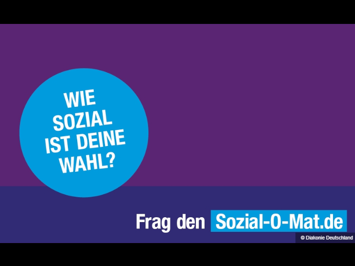 Plakat in blau und violett zum Sozial-O-Mat